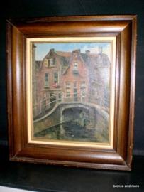 Schilderij grachtenpand te Delft