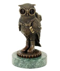 Steampunk uil bronzen beeld