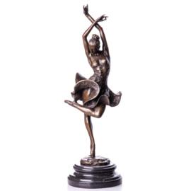 Bronzen flamingo danseres beeld