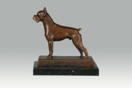 Bronzen boxer hond beeld