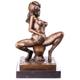 Bevredigende vrouw op toilet beeld