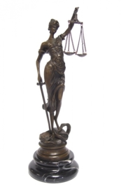 Bronzen vrouwe Justitia 23,5 cm