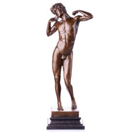 Mannelijk naakt bronzen beeld