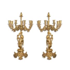 Empire goud bronzen kandelaars CL101