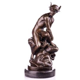 Zittend Mercurius bronzen beeld