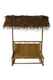 Bamboe tuinbank met rieten dak