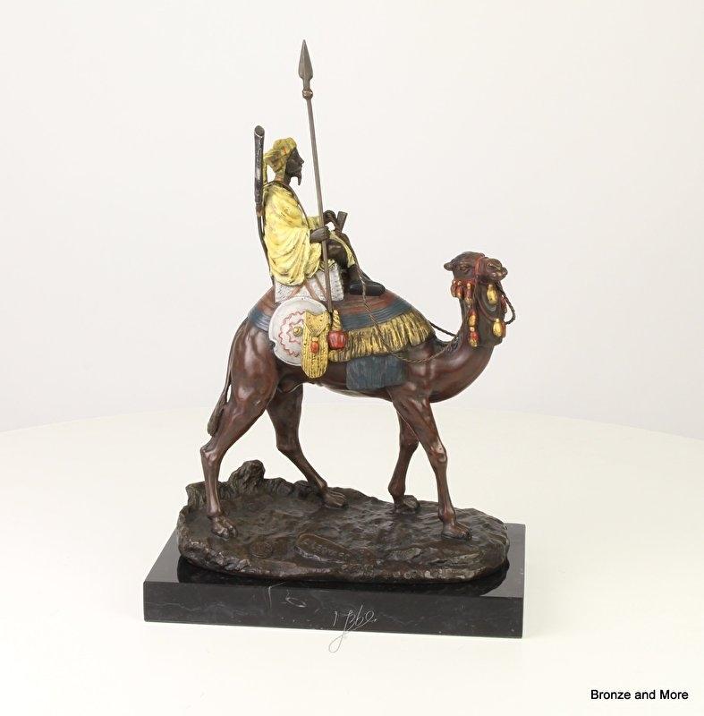 Bronzen beeld Arabier met dromedaris