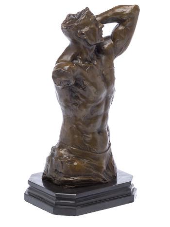 Bronzen bodybuilder torso beeld