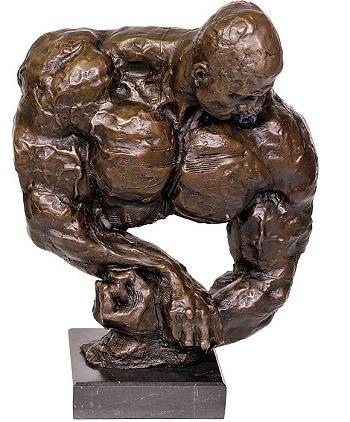 Gespierde man torso brons beeld