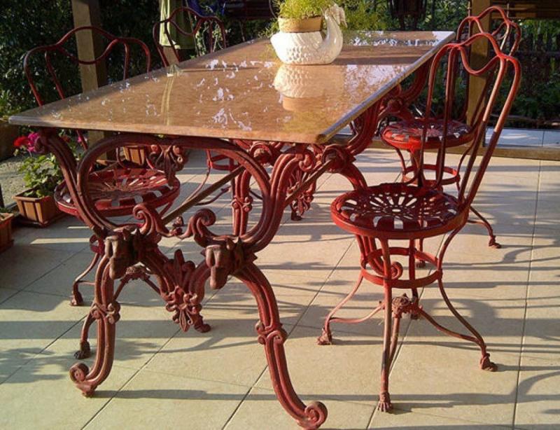 Jugendstil tuintafel met 4 stoelen