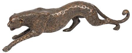 Bronzen sluipende luipaardbeeld