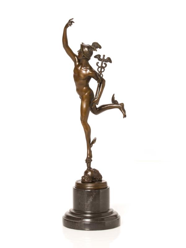 Bronzen Mercurius Hermes beeld 42 cm