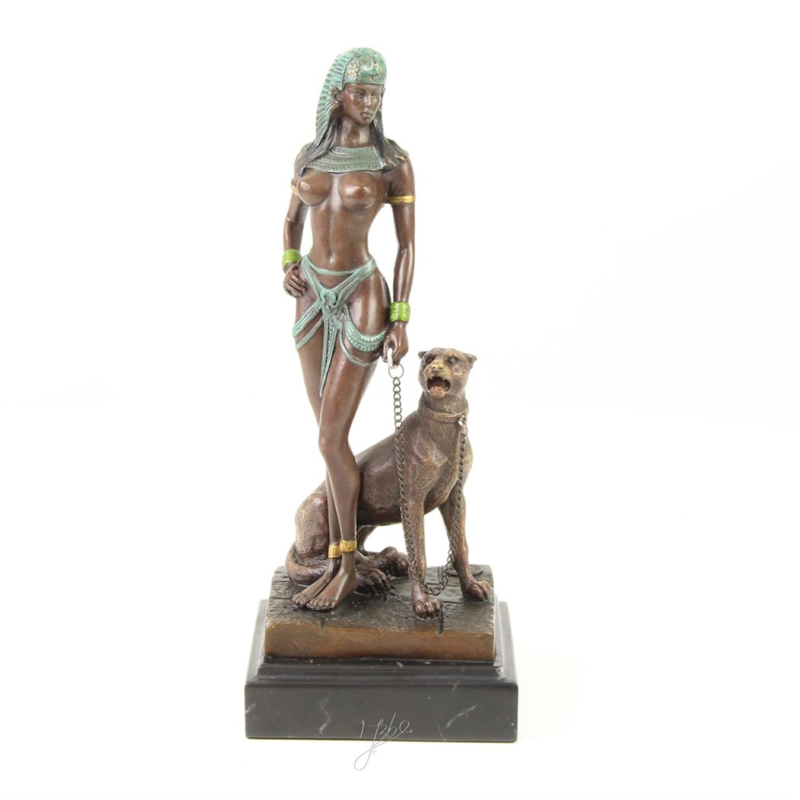 Cleopatra bronzen beeld met panter
