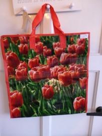 Boodschappen tas tulpen  rood