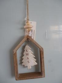 Kersthanger hout huisje, kerstboom