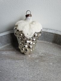 vintage kerstbal druiventros zilver, 06