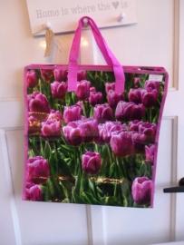 Boodschappen tas tulpen paars