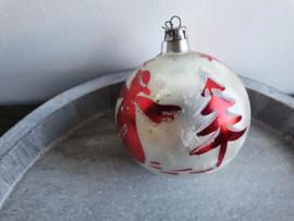 Vintage kerstbal zilver rood 90