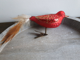 Kerstbal vogeltje op clip rood 102