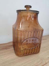 Glazen voorraad pot bruin