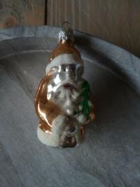 Oude kerstbal kerstman goud, 64