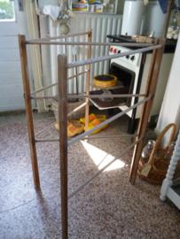 Brocante houten was/handdoeken rek
