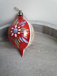 Vintage kerstbal bloem rood 85