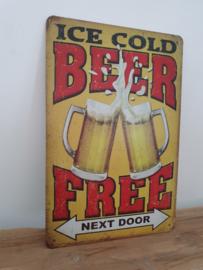 Tekstbord Beer free next door