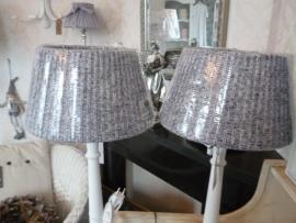 Lampen kap , grijs/wit