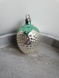 vintage kerstbal druiventros zilver/groen , 08