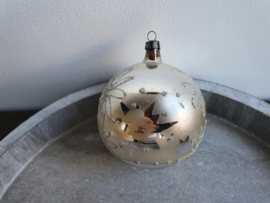Vintage kerstbal zilver glitter bloemen 91