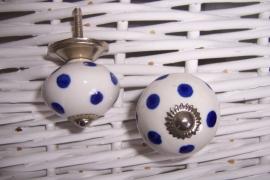 Knopje wit met blauwe stip