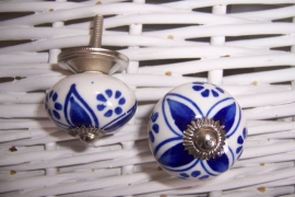 Knopje rond blauw / wit
