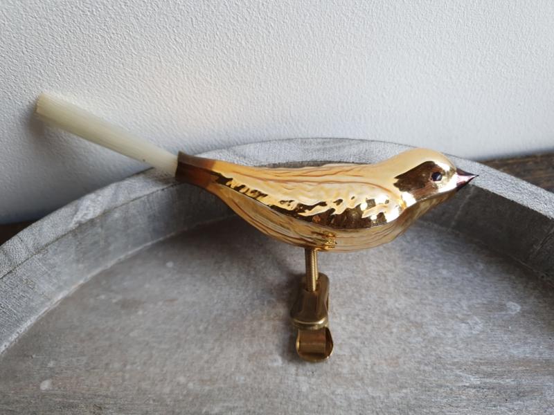 Vintage vogeltje goud op clip 105