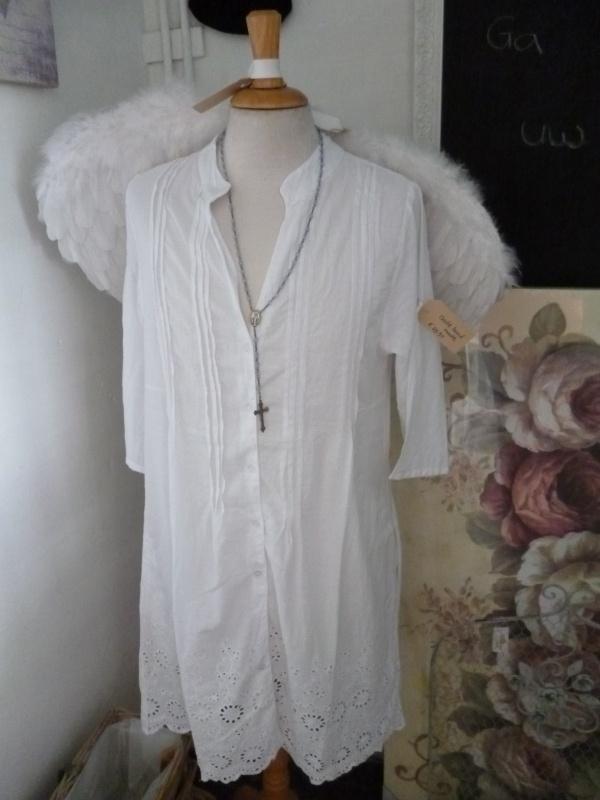 Wit nacht hemd < Maat XL