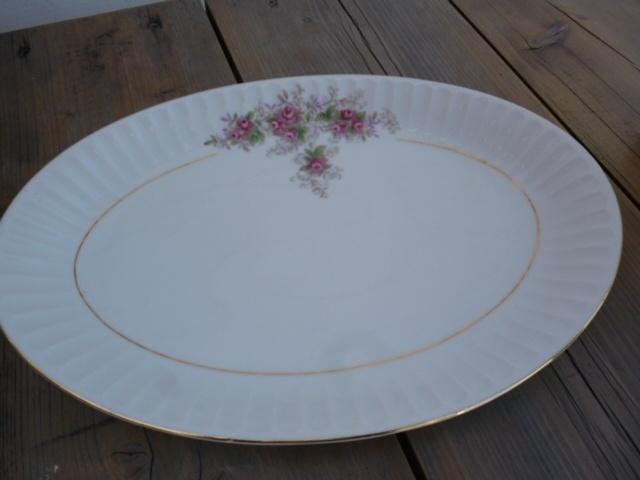 Brocante schaal plat met roosjes