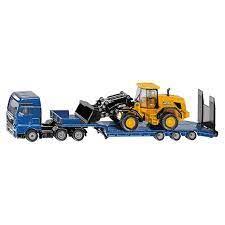 MAN  vrachtwagen met dieplader en JCB shovel