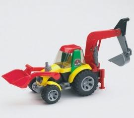 Tractor met voor- en achtergraver