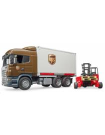 Scania vrachtwagen UPS met kooiaap / heftruck