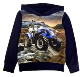 Trui / Hoodie met blauwe tractor