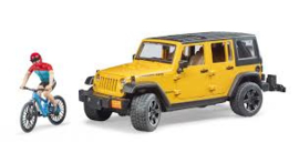 Jeep Wrangler Rubicon Unlimited met mountainbike en speelfiguur