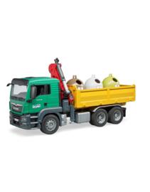 Man TGS vrachtwagen met (glas)containers