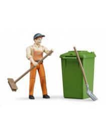 Stratenveger / vuilnisman met accesoires