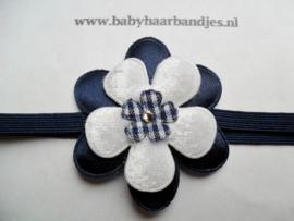 Super smal donker blauw baby haarbandje met bloem.