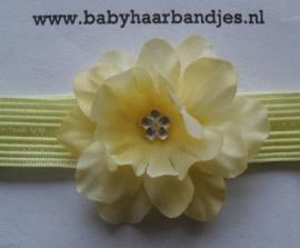 Voor de allerkleinste gele haarband met bloemetje.
