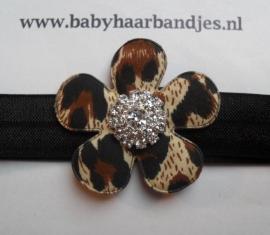 Smalle zwarte haarband met printjes bloem en strass.