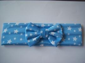 Brede haarband met sterretjes blauw