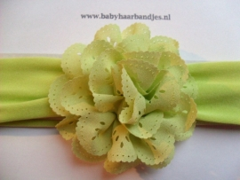 Groene baby haarband met gaatjes rozet.
