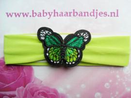 Groene baby haarband met vlinder.