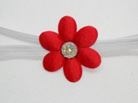 Super smal wit baby haarbandje met rood bloemetje.